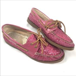 Sperry Topsiders Pink Glitter Boat Shoes Lace Up 8